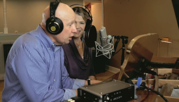 paul and rachel together during the recent radio commercial done for s and g carpets and more